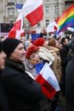 Proteste contra la destrucción de la división de poderes, el comité de la protesta la defensa de la democracia (KOD), Poznán, Pol foto de archivo