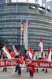 Proteste contra la fusión de la región de Alsacia con Lorena y Champa Foto de archivo libre de regalías