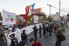 Proteste contro l'estrazione dell'oro del cianuro a Rosia Montana Immagini Stock Libere da Diritti