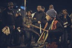 Proteste contro la miniera d'oro di Rosia Montana, Bucarest, Romania Immagine Stock Libera da Diritti