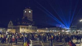 Proteste contro legge discutibile, Brasov, Romania video d archivio