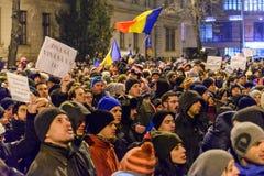 2017 - Proteste dei rumeni contro il piano di perdono del prigioniero Brasov, Fotografie Stock