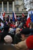 Proteste della Polonia: Marzo di migliaia contro il partito di giustizia e di legge Fotografie Stock