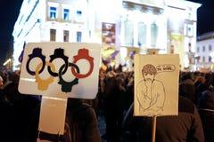 Proteste della via in Romania fotografie stock libere da diritti