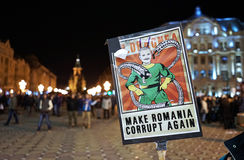 Proteste della via in Romania fotografia stock libera da diritti