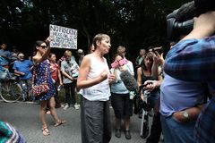 Proteste di Balcombe Fracking Immagini Stock