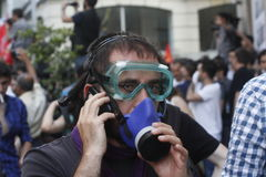 Proteste di Costantinopoli Taksim Fotografie Stock Libere da Diritti