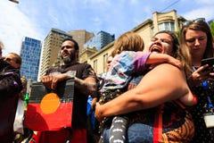 Proteste di giorno dell'Australia di giorno di invasione a Melbourne Immagine Stock Libera da Diritti