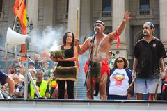 Proteste di giorno dell'Australia di giorno di invasione a Melbourne Fotografie Stock