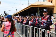 Proteste di giorno dell'Australia di giorno di invasione a Melbourne Fotografia Stock