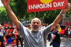 Proteste di giorno dell'Australia di giorno di invasione a Melbourne Immagini Stock