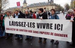 Proteste gegen französische einwandernde Gesetze Lizenzfreies Stockbild