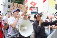 Proteste gegen HKSAR-Politik-Adresse, Budgetforen Stockfoto