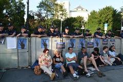 Proteste gegen Regierung in Polen Stockbild