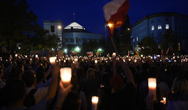 Proteste gegen Regierung in Polen Lizenzfreie Stockfotografie