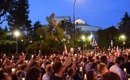 Proteste gegen Regierung in Polen Stockfotografie