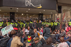 Proteste gegen Regierungspolitik in London Stockfotografie