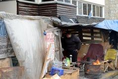 Proteste la acción de empleados del estado en Ushuaia - la ciudad más situada más al sur del mundo Fotografía de archivo libre de regalías