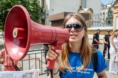 Proteste la acción de los defensores animales bajo administración presidencial Foto de archivo