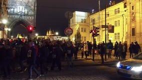 Proteste in Prag stock footage
