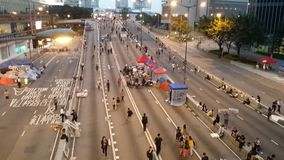 Proteste Protestorsblock Harcourt Road Occupy Admirltys Hong Kong Regenschirm-Revolution 2014 besetzen Zentrale Stockfotos