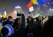 Proteste rumene Fotografie Stock