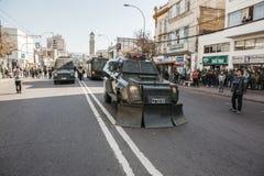 Proteste in Valparaiso Stockbild