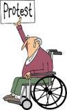 Protesteerder in een rolstoel Royalty-vrije Stock Foto's