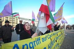Protesteerders in Berlijn Stock Foto's