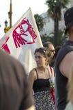 Protesteerders in de straten in Thessaloniki door leden dat worden verzameld van Royalty-vrije Stock Fotografie
