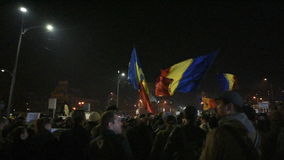 Protesteerders in Piata Universitatii stock footage