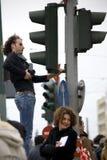 Protesteerders van Athene 09-01-09 Stock Foto