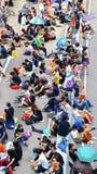 Protesteerdersafstand houden in admiraliteit, Hongkong Stock Foto's