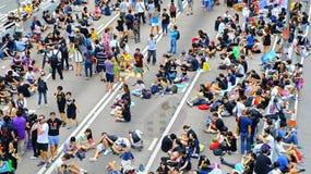 Protesteerdersafstand houden in admiraliteit, Hongkong Royalty-vrije Stock Foto
