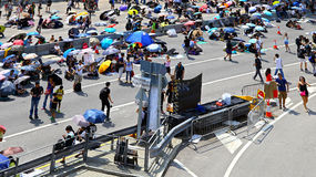 Protesteerdersafstand houden in admiraliteit, Hongkong 2014 Stock Foto