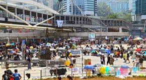 Protesteerdersafstand houden in admiraliteit, Hongkong 2014 Stock Fotografie