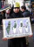 Protesten anti-Israëliër in Parijs Stock Afbeeldingen