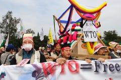 Protesten anti-WTO in Hongkong Stock Foto's