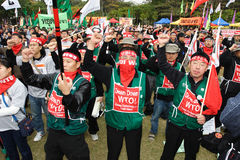 Protesten anti-WTO in Hongkong Royalty-vrije Stock Foto