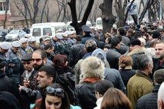 Protesten in Armenië: democratische overgang van macht zonder bloed Stock Foto