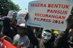 Protesten av det Indonesien valet Royaltyfri Foto