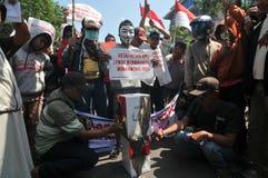 Protesten av det Indonesien valet Royaltyfri Fotografi
