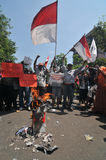 Protesten av det Indonesien valet Arkivbild