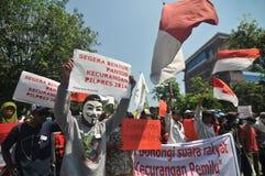 Protesten av det Indonesien valet Royaltyfria Bilder