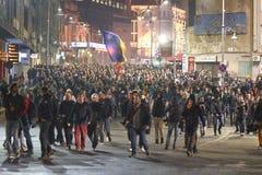 Protesten in Boekarest voor rechtvaardigheid Royalty-vrije Stock Fotografie