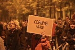 Protesten in Boekarest voor rechtvaardigheid Royalty-vrije Stock Foto's