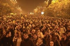 Protesten in Boekarest voor rechtvaardigheid Stock Afbeelding