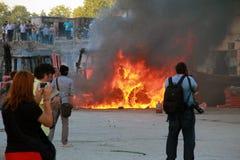 Protesten in het Vierkant van Turkije Taksim, Taksim-Vierkant, het Standbeeld van Atatà ¼ rk Stock Afbeeldingen