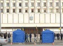 Protesten na de verkiezing van de Voorzitter in Kiev stock afbeelding