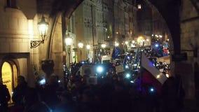 Protesten in Praag stock video
